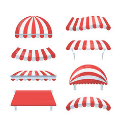 Canopy striped set fashionable red white awnings vector