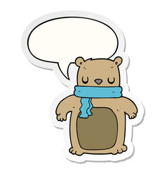 Cartoon bear and scarf and speech bubble sticker vector