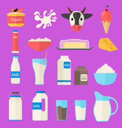 cartoon color milk products icons set vector image vector image