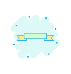 cartoon colored badge ribbon icon in comic style vector image