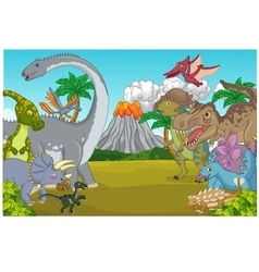 Cartoon dinosaur character with volcano vector