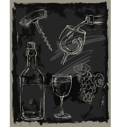 Chalk wine vector