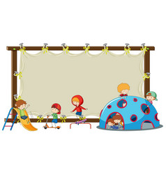 children on blank board vector image