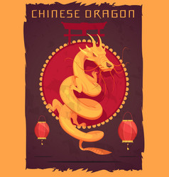 Chinese dragon poster vector