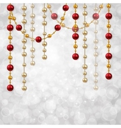 Christmas card template with garland beads vector