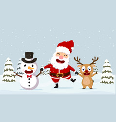 Christmas santa claus reindeer and snowmen vector