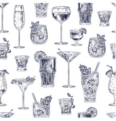 cocktail seamless pattern hand drawn alcohol vector image