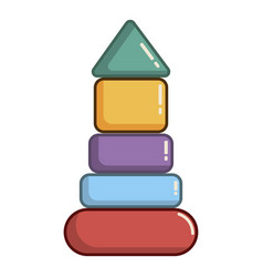 Colorful pyramid toy icon cartoon style vector