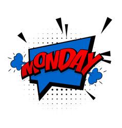 Comic blue sound effects pop art monday week vector