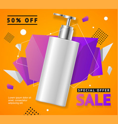Cosmetic bottle sale banner banner card vector