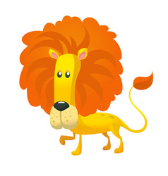 Cute cartoon lion character wild animal vector