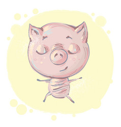 cute little pig character in yoga pose meditating vector image