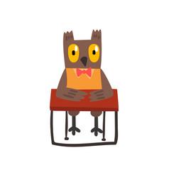cute owl bird cartoon character sitting at the vector image