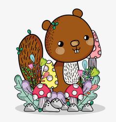 cute squirrel doodle cartoon vector image