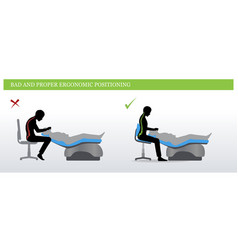Dental ergonomics wrong and correct sitting pose vector