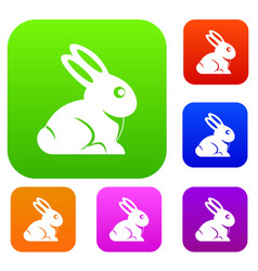 easter bunny set color collection vector image