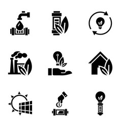 Eco saver energy icon set simple style vector
