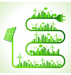 ecology concept with solar panel vector image