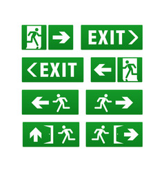 Emergency exit pointers isolated on white vector