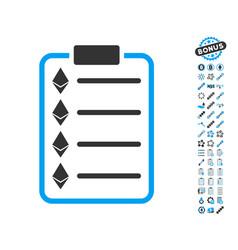 Ethereum list pad icon with bonus pictograms vector