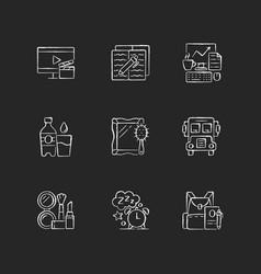 Everyday activities chalk white icons set on dark vector