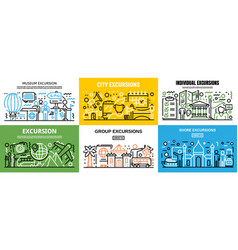 Excursion banner set outline style vector