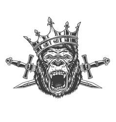 Ferocious gorilla king head in crown vector
