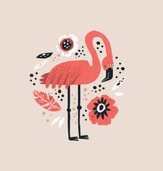 flamingo hand drawn vector image