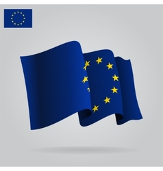 Flat and waving European Union Flag vector