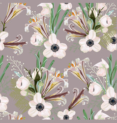 Floral pattern with many kind flowers vector