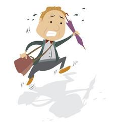 frantic man with a bag and umbrella vector image