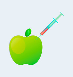 genetic engineering gmo apple with syringe vector image