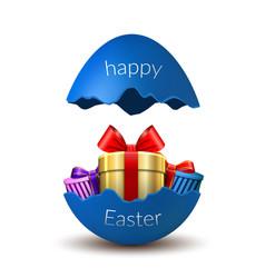 Gift box happy easter egg surprise broken blue vector