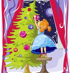 Girl dresses up Christmas tree vector