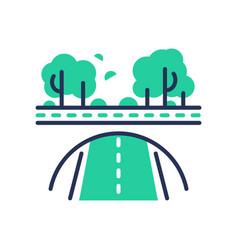 green road - modern single line icon vector image