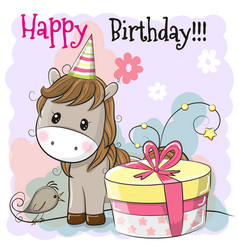 Greeting card cute horse with gift vector