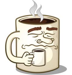 grumpy coffee mug character vector image