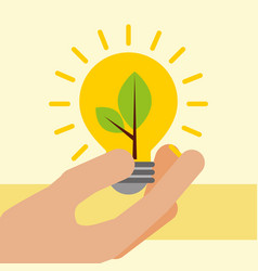Hand holding light bulb with plant ecology vector