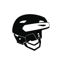Hockey helmet black simple icon vector