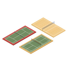 Isometric tennis badminton and volleyball courts vector