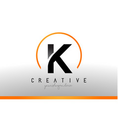 k letter logo design with black orange color cool vector image