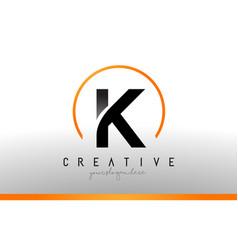 K letter logo design with black orange color cool vector