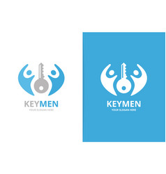 key and people logo combination lock and vector image