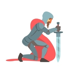 Knight With Red Cape And Sword Kneeling Fairy Tale vector