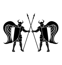 knights with shields and spears vector image