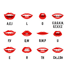 lips sound pronunciation chart vector image