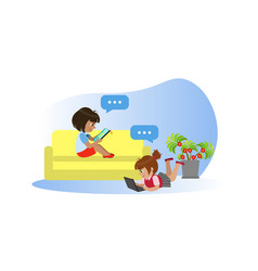 little girls using gadgets kids playing games vector image