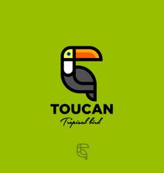 logo toucan tropical bird flat yellow green vector image
