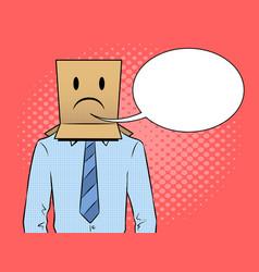 man with box sad emoji on head pop art vector image