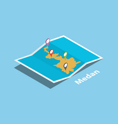 medan indonesia explore maps with isometric style vector image